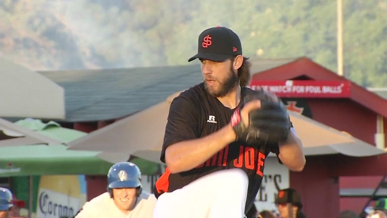Madison Bumgarner pitches for the San Jose Giants on June 5, 2017 as part of his rehabilitation from an April injury.
