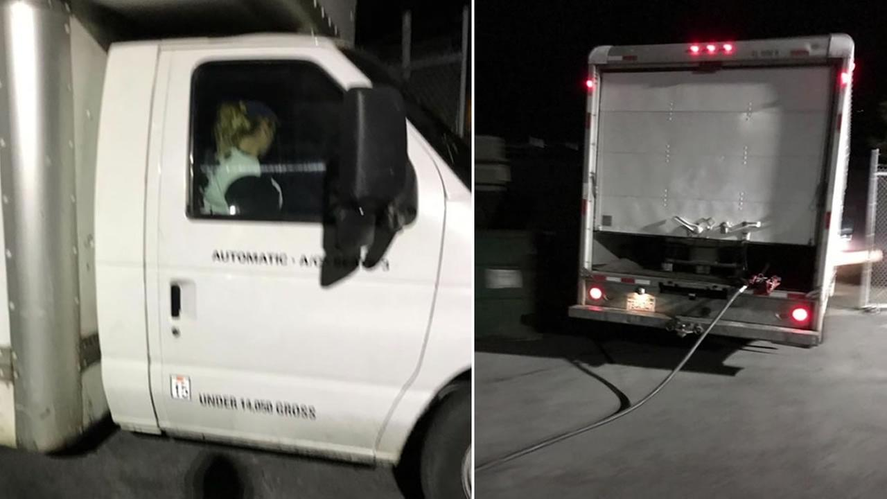 A custodian took these photographs as two people stole gas from the Novato Unified School District bus yard in Novato, Calif. on Wednesday, July 6, 2017.