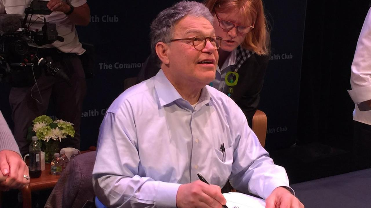 Senator Al Franken, D-Minnesota, signs books after an event in Santa Clara, Calif. on Thursday, July 6, 2017.