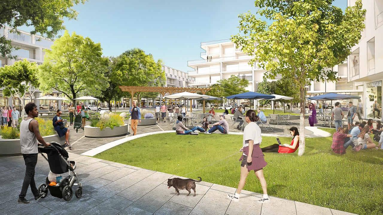 This rendering shows a proposal to expand the Facebook campus in Menlo Park Calif. The mixed-use village proposal includes offices housing grocery retail and parks