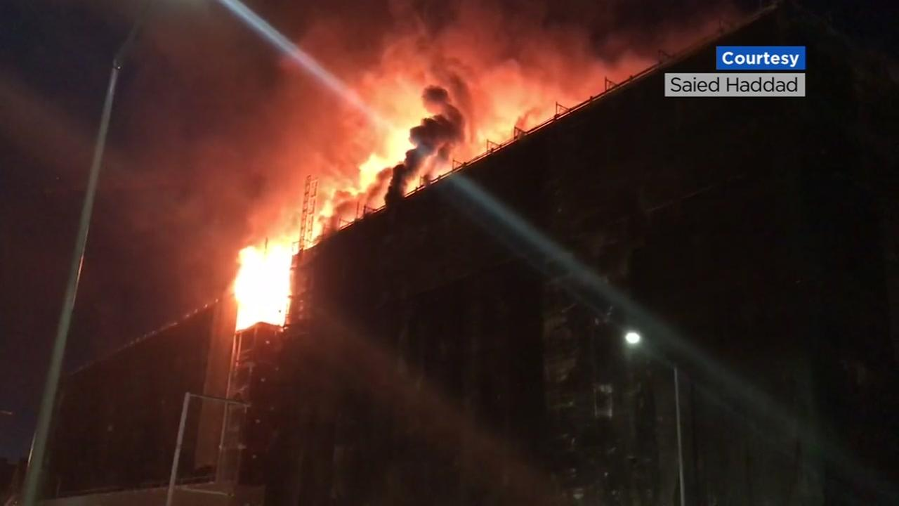 3-alarm fire rips through building under construction in California