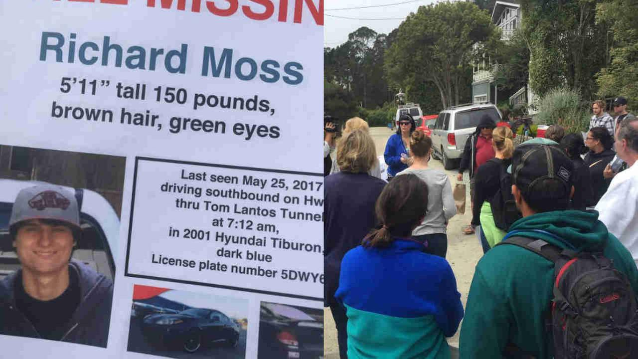 A flyer for missing San Mateo County man Richard Moss is seen beside a party of volunteers that gathered to search for him on Sunday, July 9, 2017.