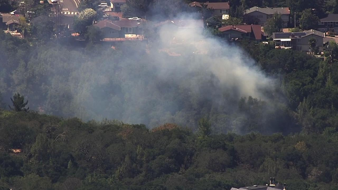 A fire is burning near homes along Goodwin Avenue in Redwood City.