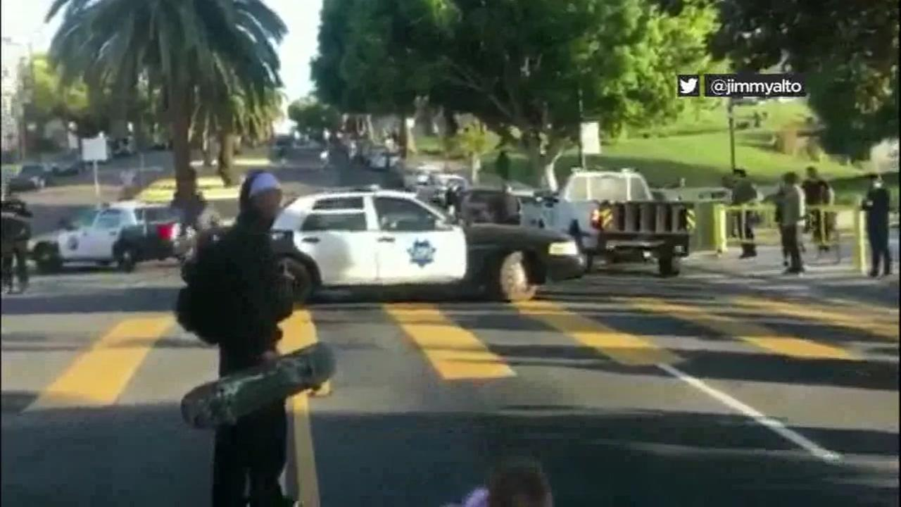 Skateboarders clash with San Francisco police near Dolores Park