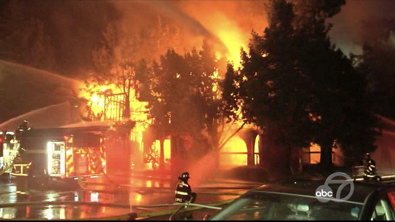 A fire ripped through a commercial complex in Lafayette, Calif. on Wednesday, July 12, 2017.