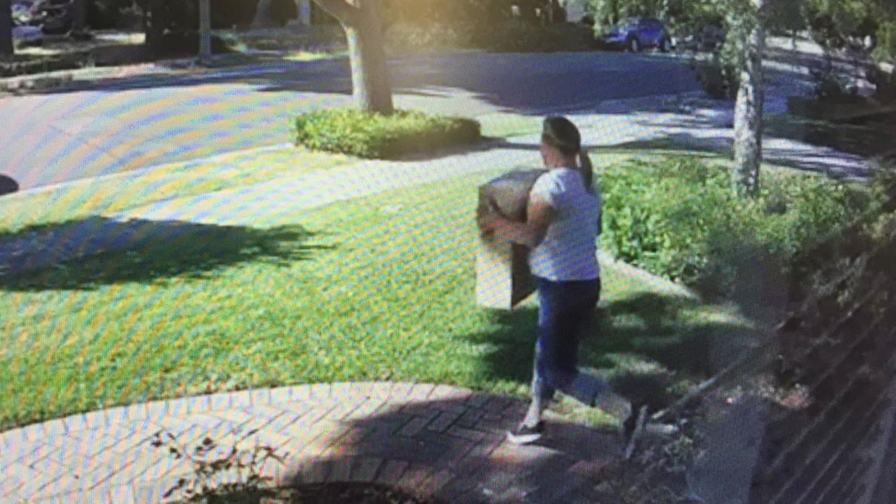 This is an undated image of an accused package thief caught on home surveillance video in San Jose, Calif.