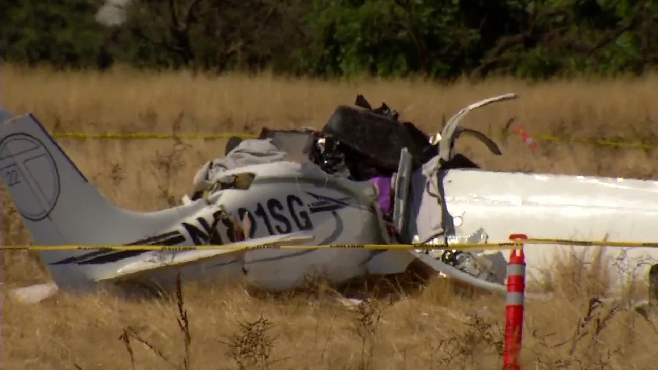 A plane is seen crashed near Sonoma Skypark on Thursday, July 13, 2017.
