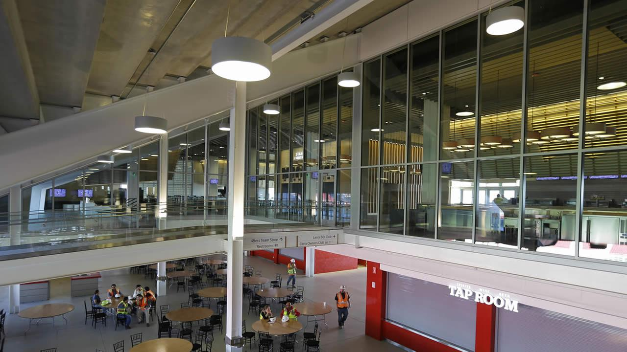 The concession area on the plaza level of  Levis Stadium in Santa Clara.