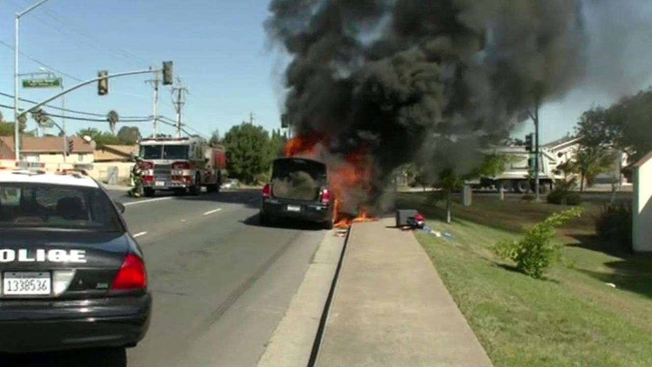 Limo catches fire in Vallejo.