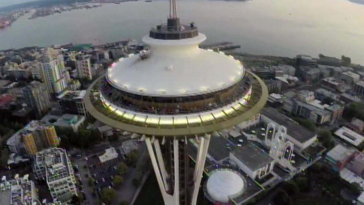 drone above the Space Needle in Seattle