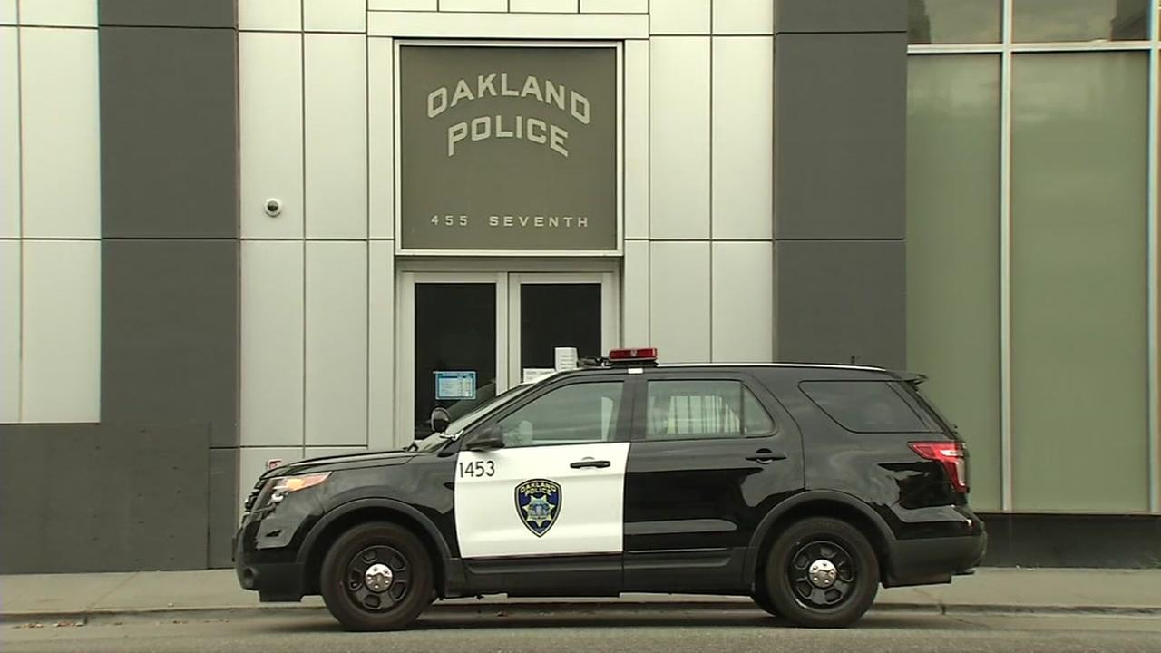 This undated image shows a police car outside the departments headquarters in Oakland, Calif.