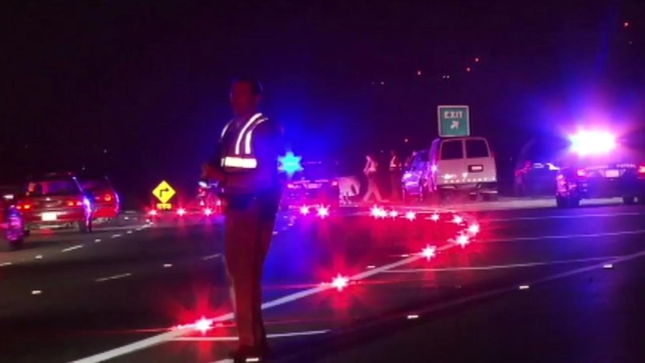 CHP patrol car hit and injures pedestrian on Highway 101 at Alum Rock Avenue in San Jose