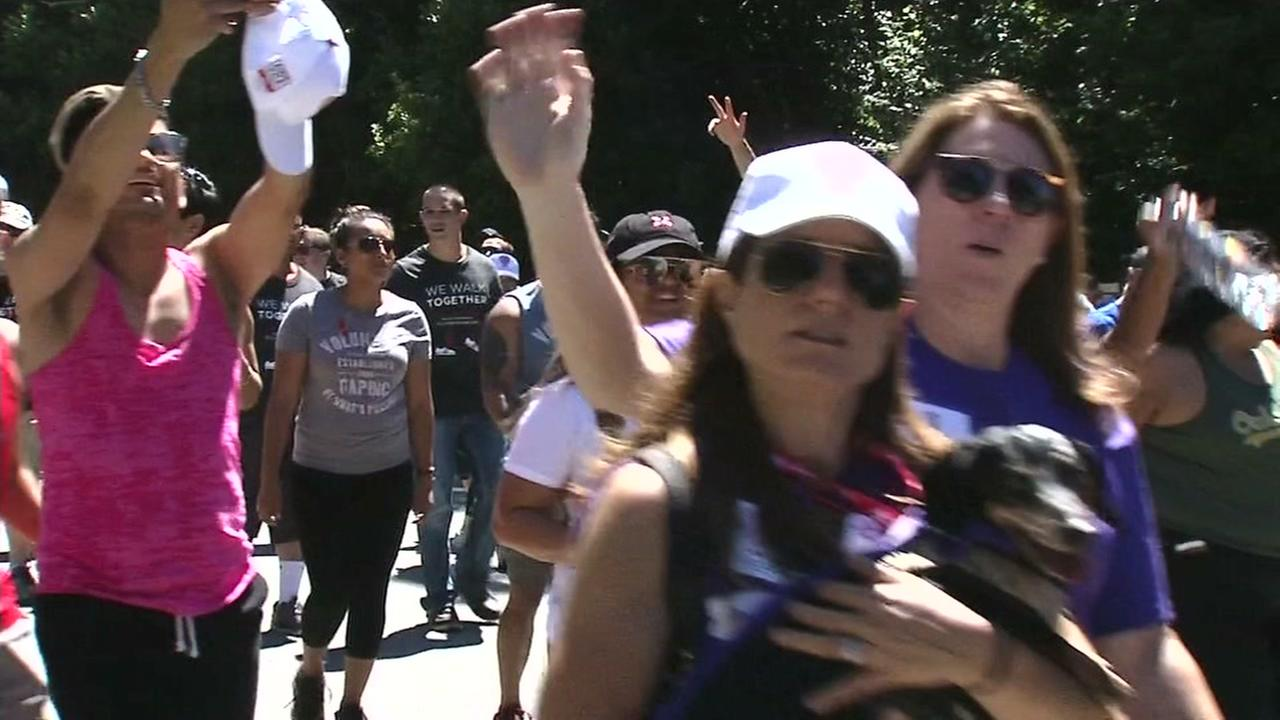 Participants in the 2017 AIDS Walk San Francisco are seen on Sunday, July 16, 2017.KGO-TV