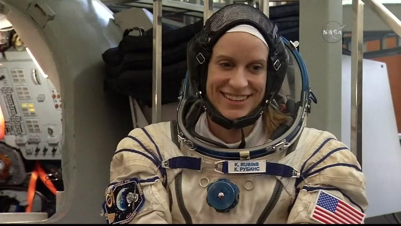 Kate Rubins appears in her NASA space suit in this undated image.