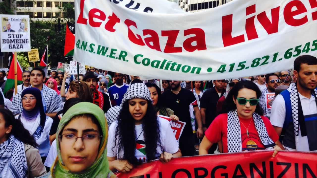 A few thousand people filled San Francisco streets Saturday afternoon for a demonstration of support for Palestinians in Gaza.