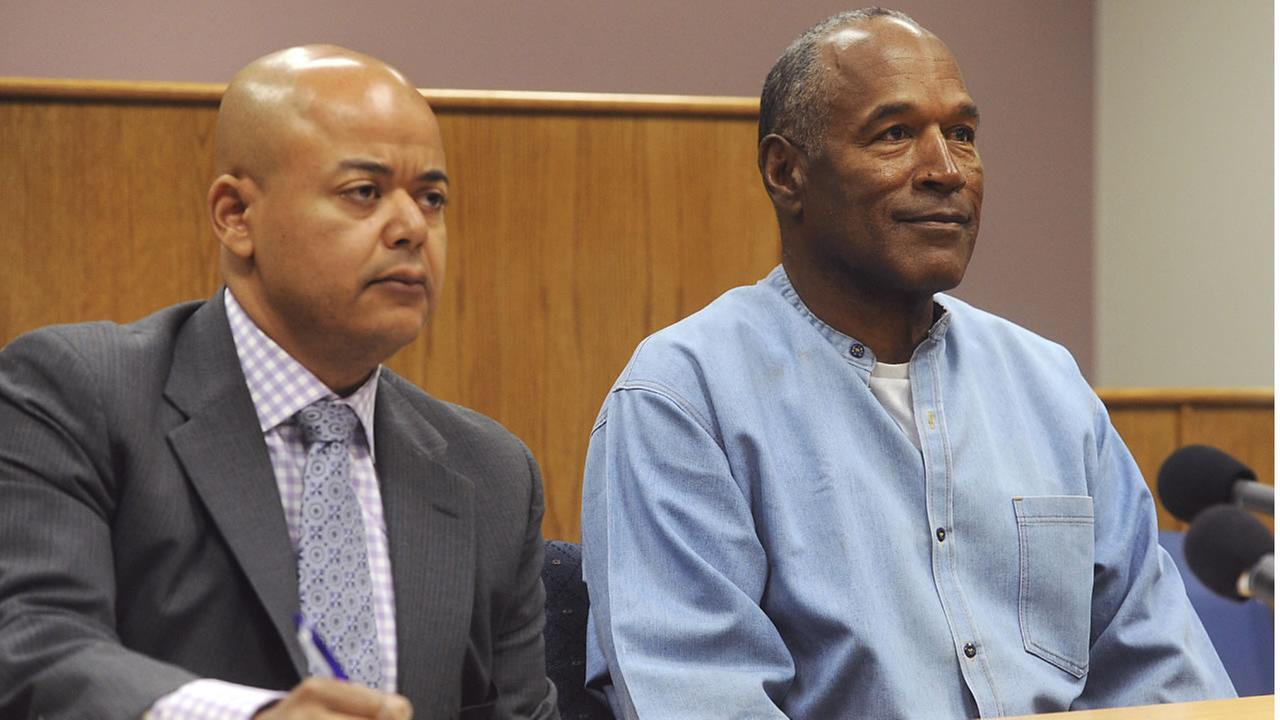 Former NFL football star O.J. Simpson appears via video for his parole hearing at the Lovelock Correctional Center in Lovelock, Nev., on Thursday, July 20, 2017. (AP photo)