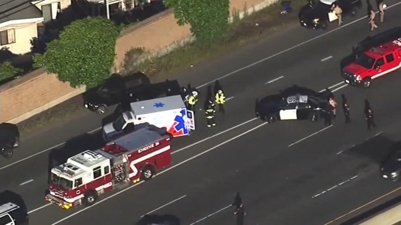 This image from Sky7 shows emergency responders on the scene of an officer-involved shooting on Highway 101 in San Mateo, Calif. on April 28, 2017.
