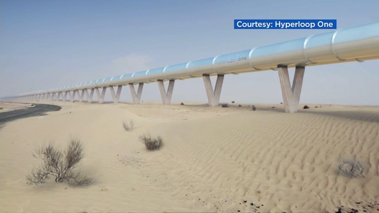 This undated image shows a graphical representation of what Elon Musks hyperloop might look like.