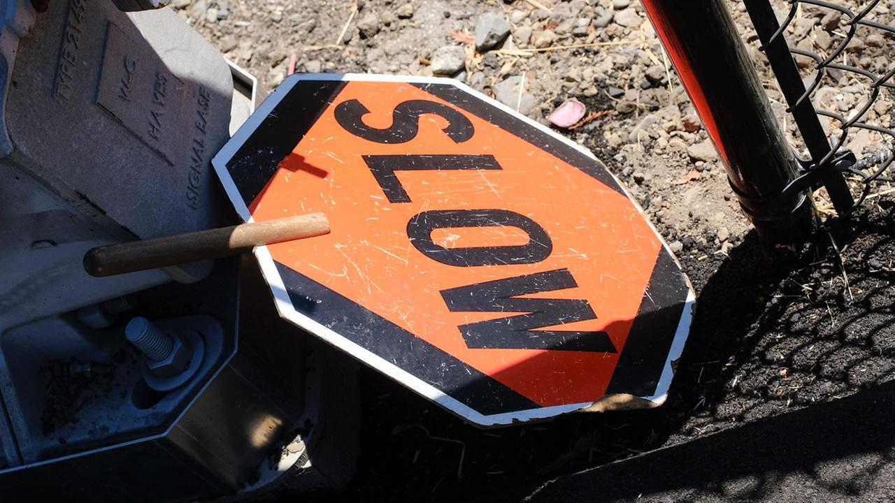 A stop sign appears near the site of some SMART train tracks on Thursday, July 20, 2017.