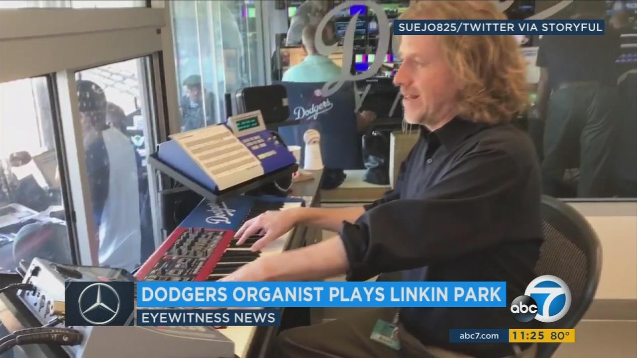 The organist for the Los Angeles Dodgers paid tribute to Linkin Park frontman Chester Bennington by playing Numb during Thursdays pregame.
