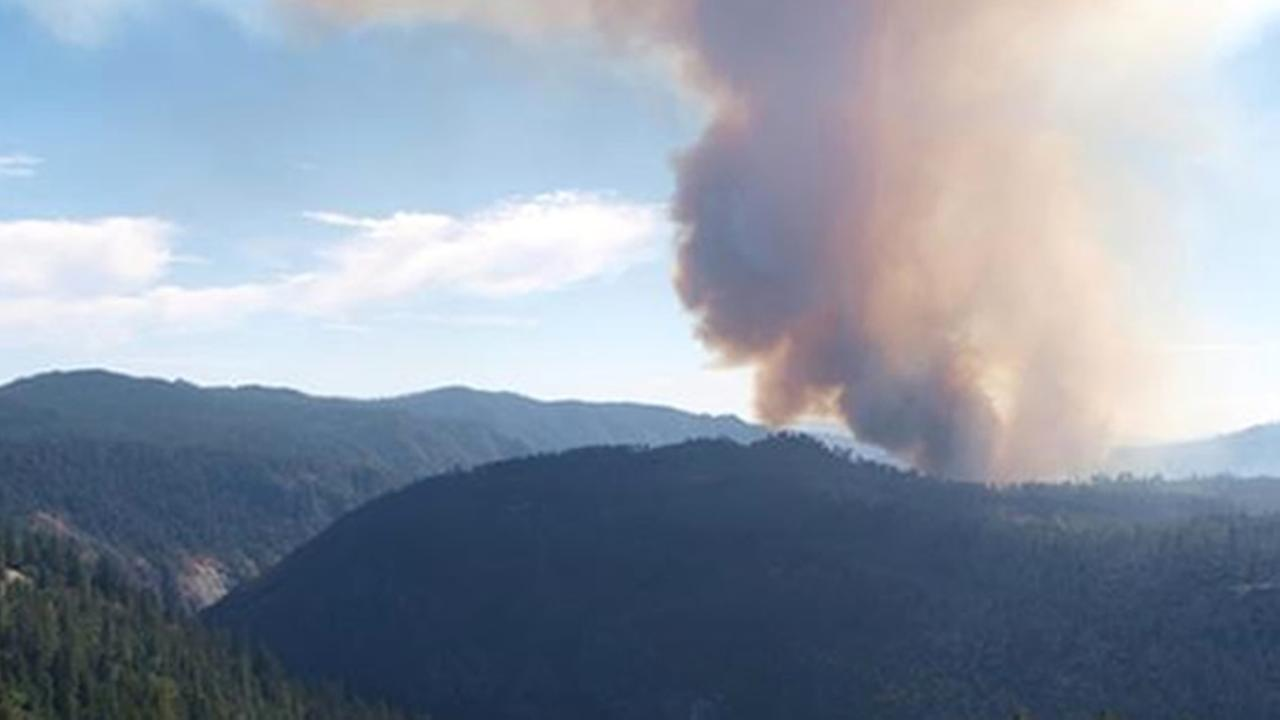 El Portal fire burning near Yosemite
