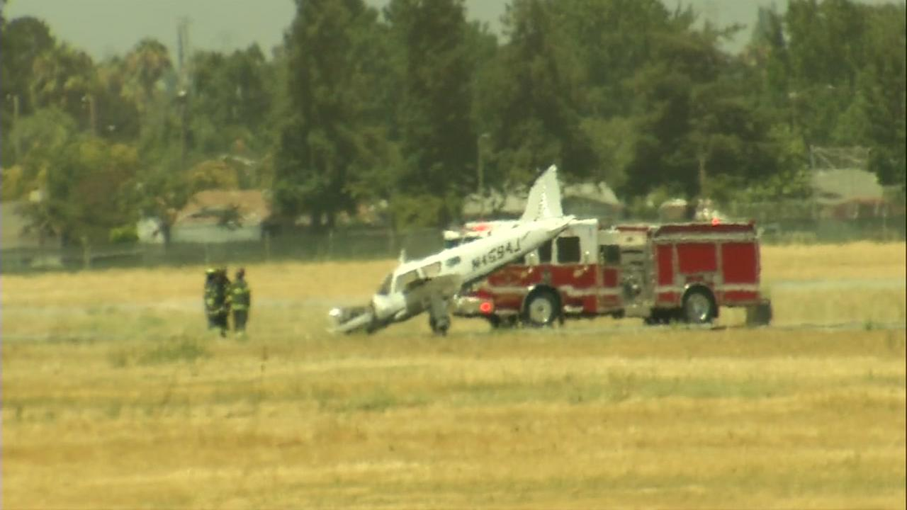 A single-engine plane crashed while trying to take off from Reid-Hillview Airport in San Jose, Calif. on Sunday, July 23, 2017.