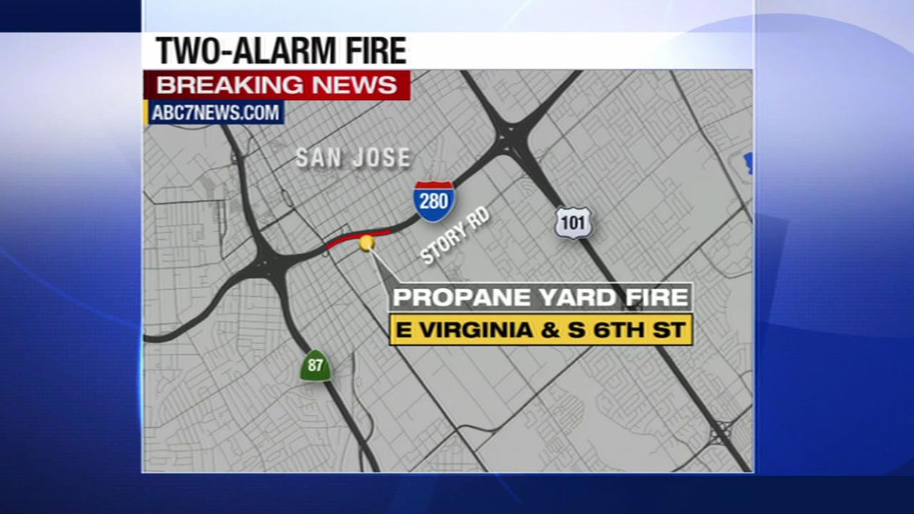 Homes and businesses near 6th and E. Virginia streets in San Jose are being evacuated as crews battle a 2-alarm fire at a nearby propane yard.
