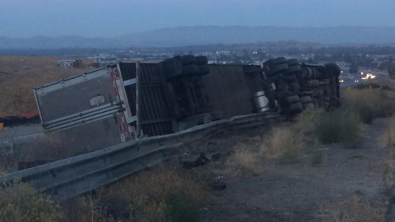 Overturned big-rig in Livermore.