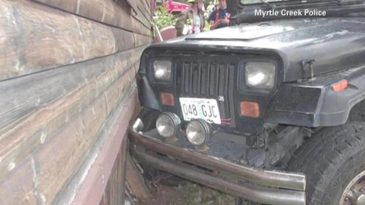 Police say a 3-year-old boy in Oregon crashed a Jeep into his neighbors house before running home to watch cartoons.