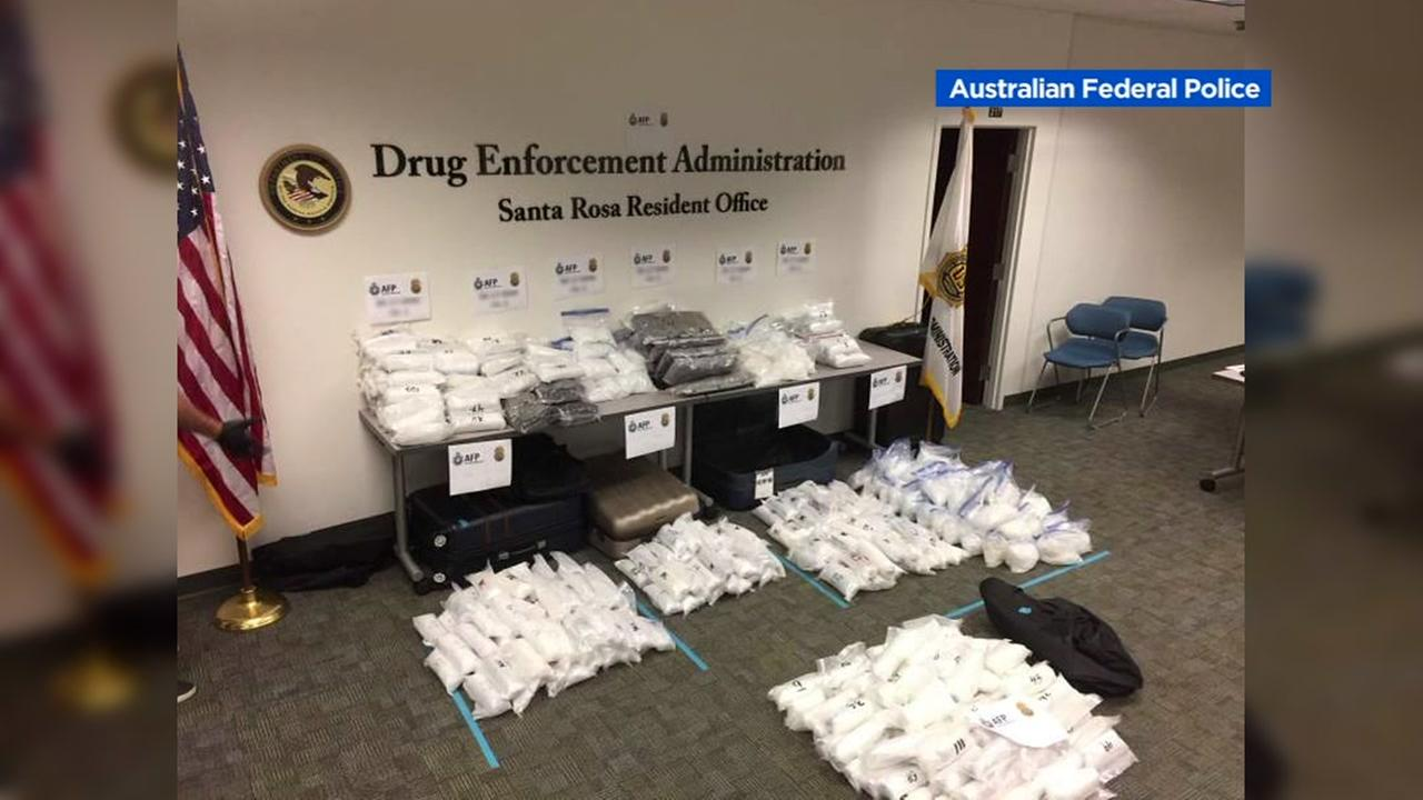 At least 560 pounds of methamphetamine are seen in this image after being found inside a storage facility in Santa Rosa, Calif.