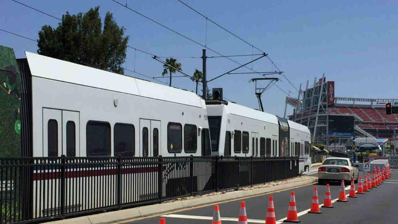 VTA trains are seen outside Levis Stadium on Wednesday, July 26, 2017.