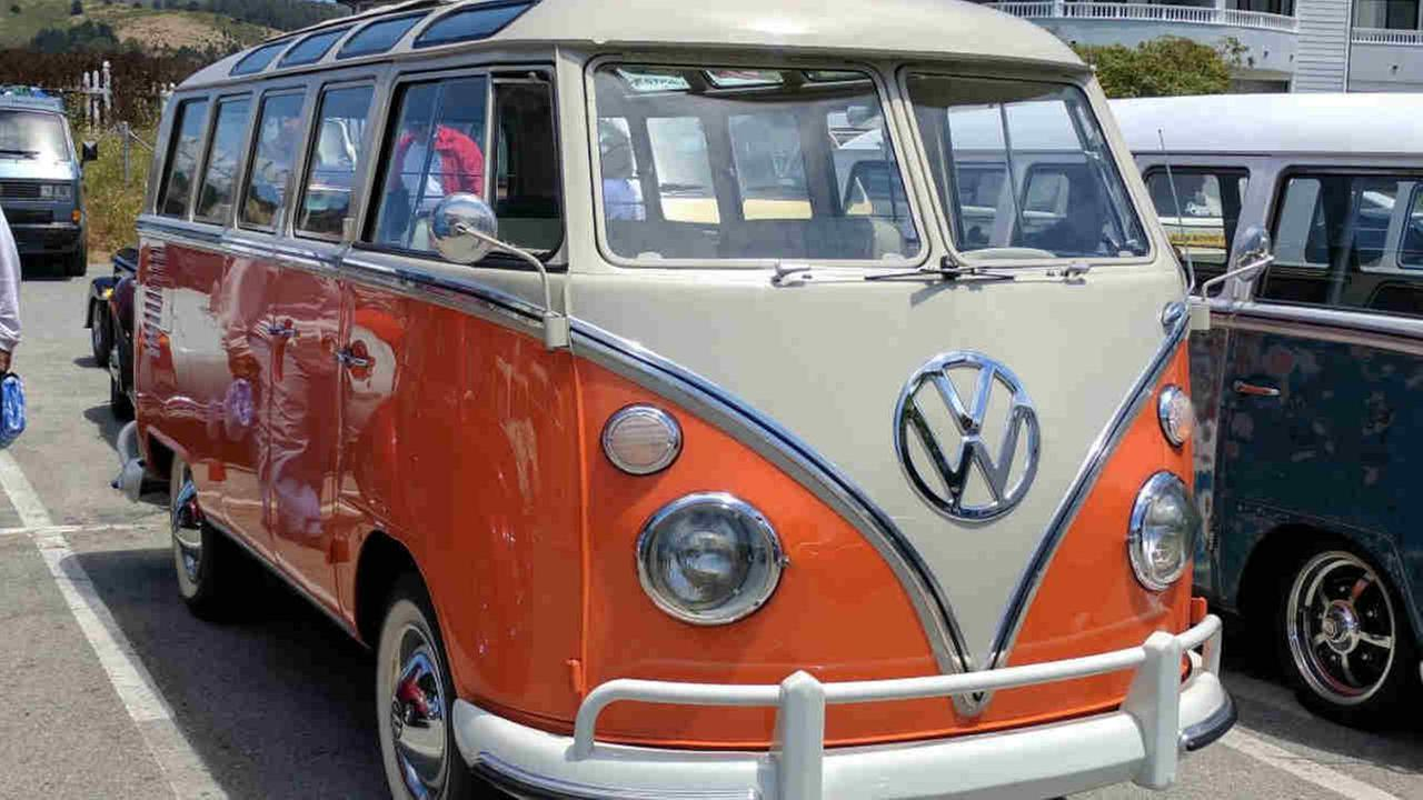 A VW bus is seen during a vintage VW drive in Half Moon Bay, Calif. on Wednesday, July 26, 2017.