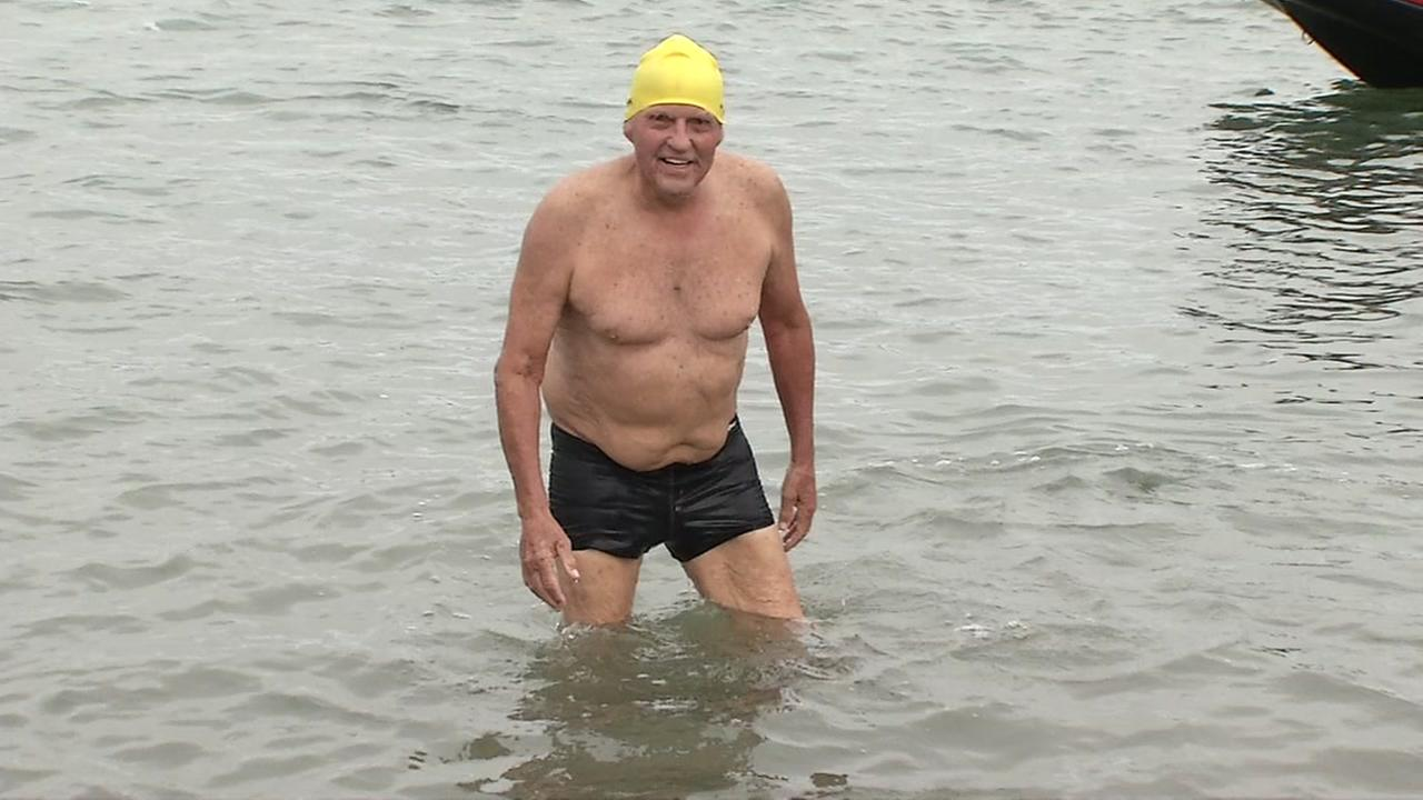 For his 87th birthday, retired Florida judge Bob Beach swam from Alcatraz to San Franciscos Aquatic Park on Wednesday, July 26, 2017.