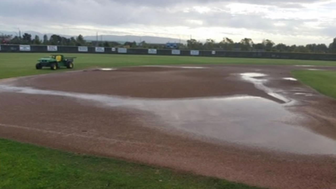 Flooded baseball field at College of Alameda