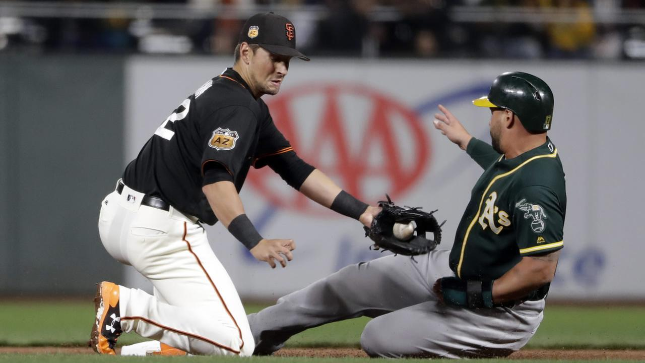 Oakland Athletics Yonder Alonso, right, steals second base from San Francisco Giants Joe Panik during an exhibition game Friday, March 31, 2017, in San Francisco.