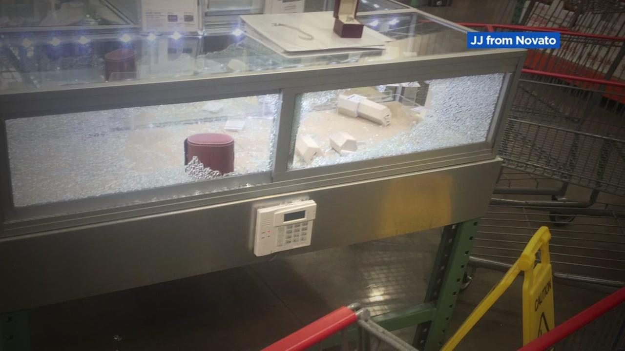 A broken jewelry case is seen at a Costco in Novato, Calif. on Sunday, July 31, 2017.