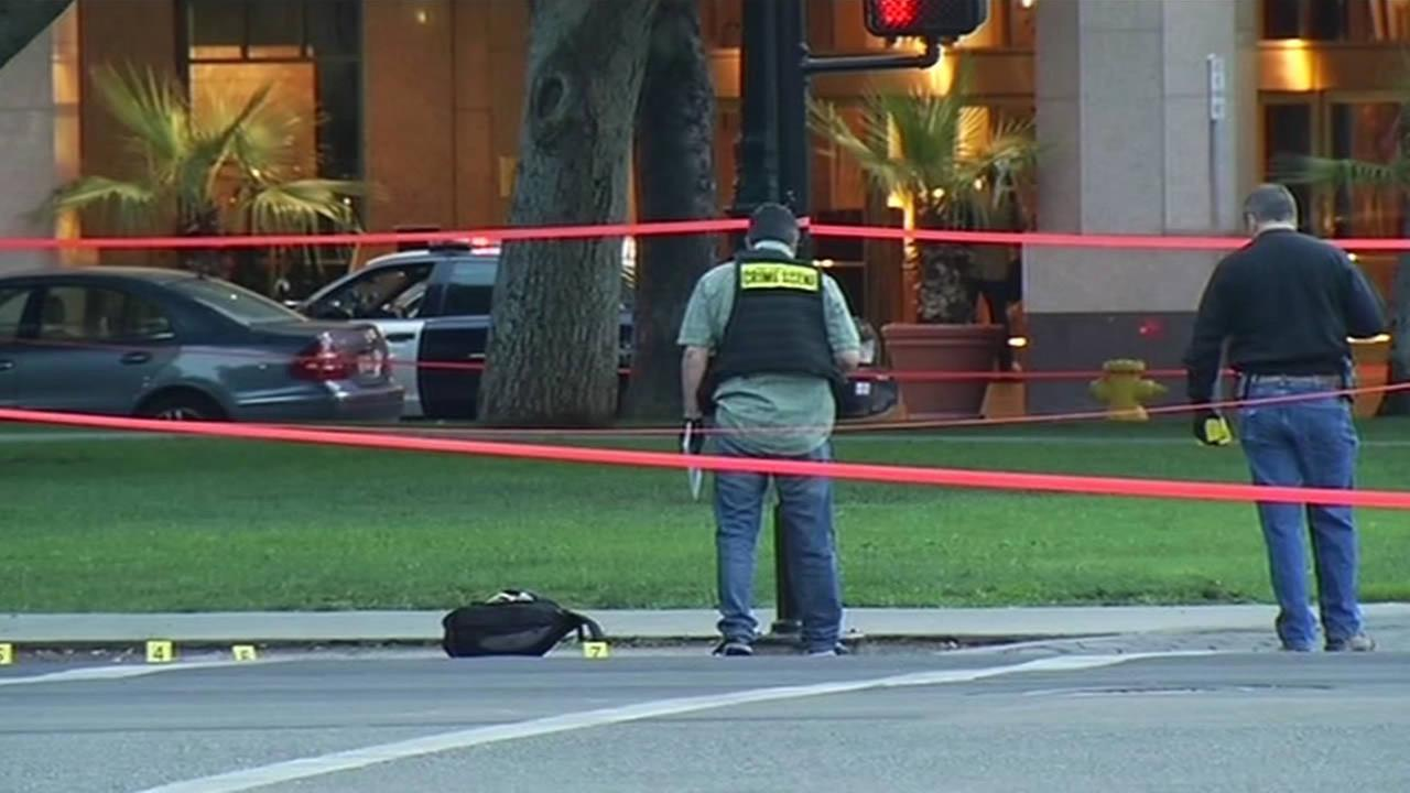 San Jose police investigate homicide in downtown area.