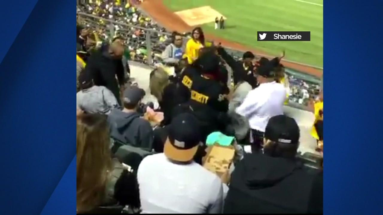 Video shows a fight at an Oakland Athletics game on Monday, July 31, 2017.
