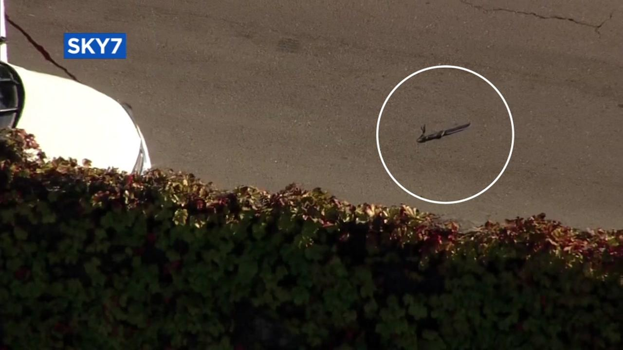 What appears to be a knife is seen at the scene of an officer-involved shooting in Richmond, Calif. on Wednesday, July 8, 2017.