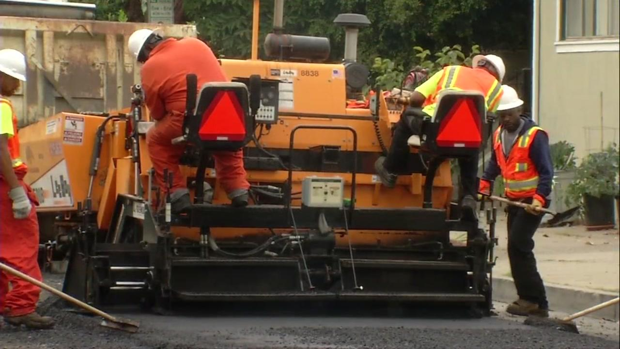Pothole repairs in Oakland, California, Thursday, August 3, 2017.