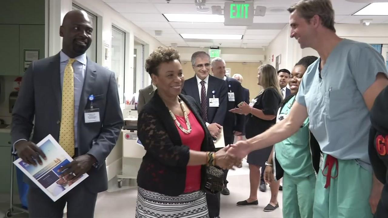 Congresswoman Barbara Lee congratulates doctors and nurses at Oakland, Calif.s Highland Hospital on Thursday, Aug. 3, 2017.