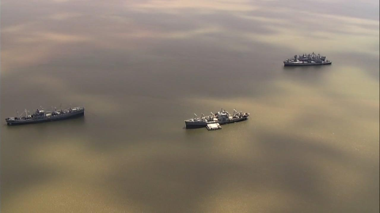 This undated image shows the mothball fleet in Suisun Bay, Calif.