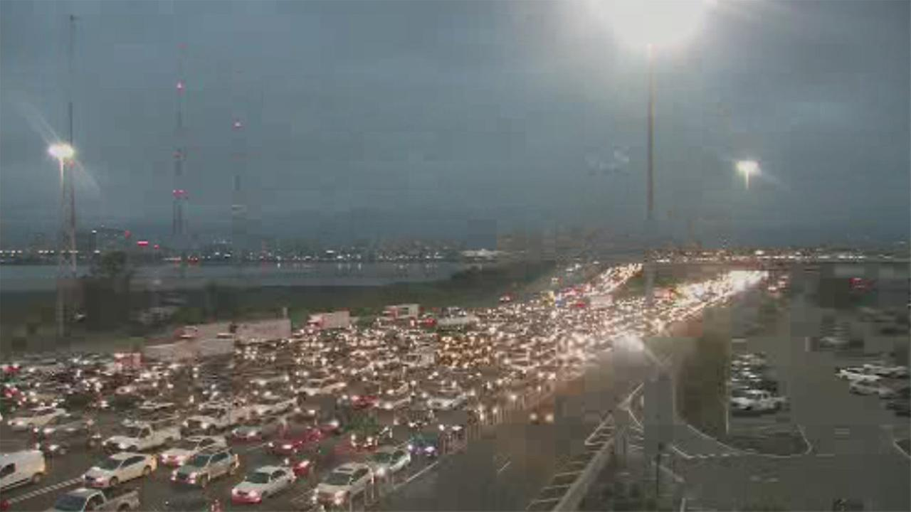 Bay Bridge toll plaza traffic, Oakland, California, Monday, July 7, 2017.