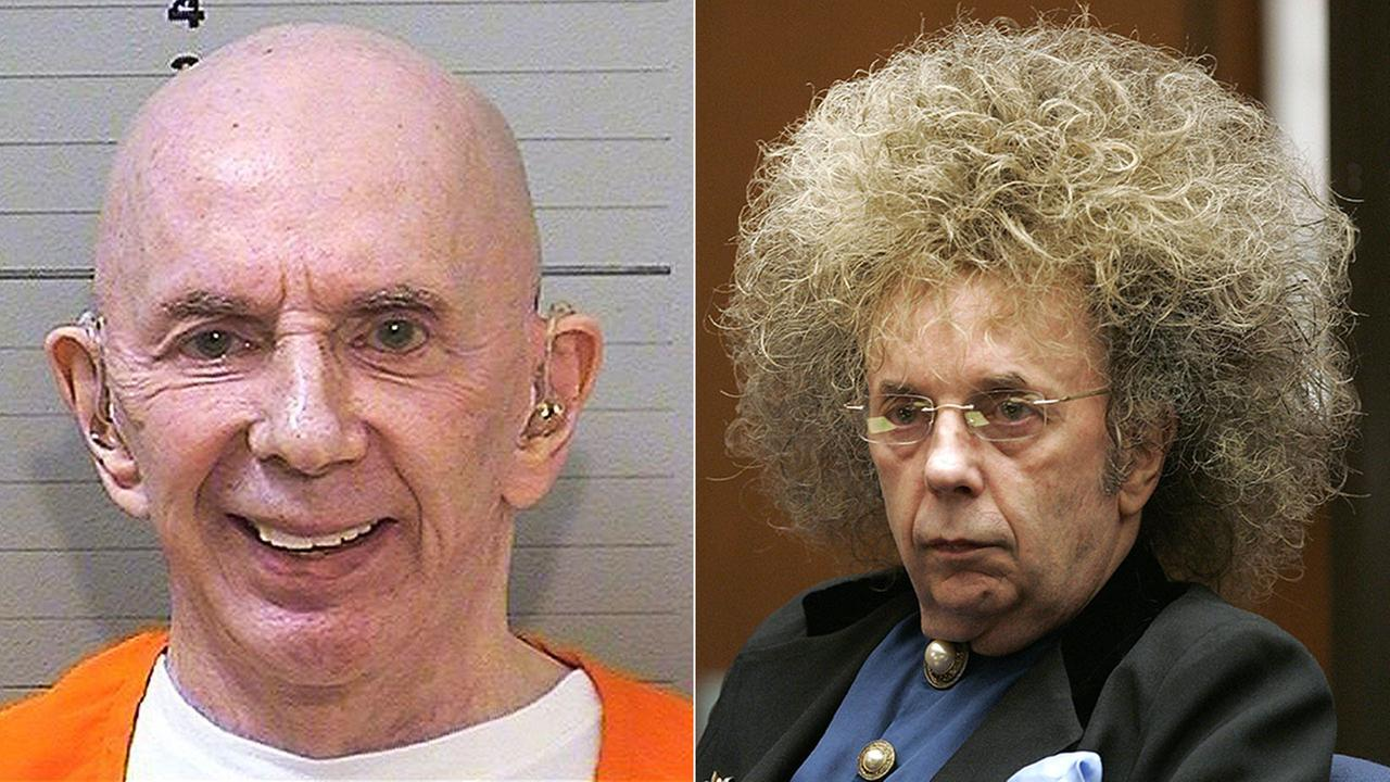 The CA Department of Corrections and Rehabilitation has released a new mugshot (left) of Phil Spector, dated June 14, 2017. At right is Spector in a 2005 court appearance.