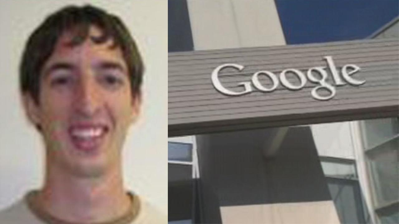 FILE-- (Left) Fired Google employee James Damore and (right) Google headquarters in Mountain View, California.