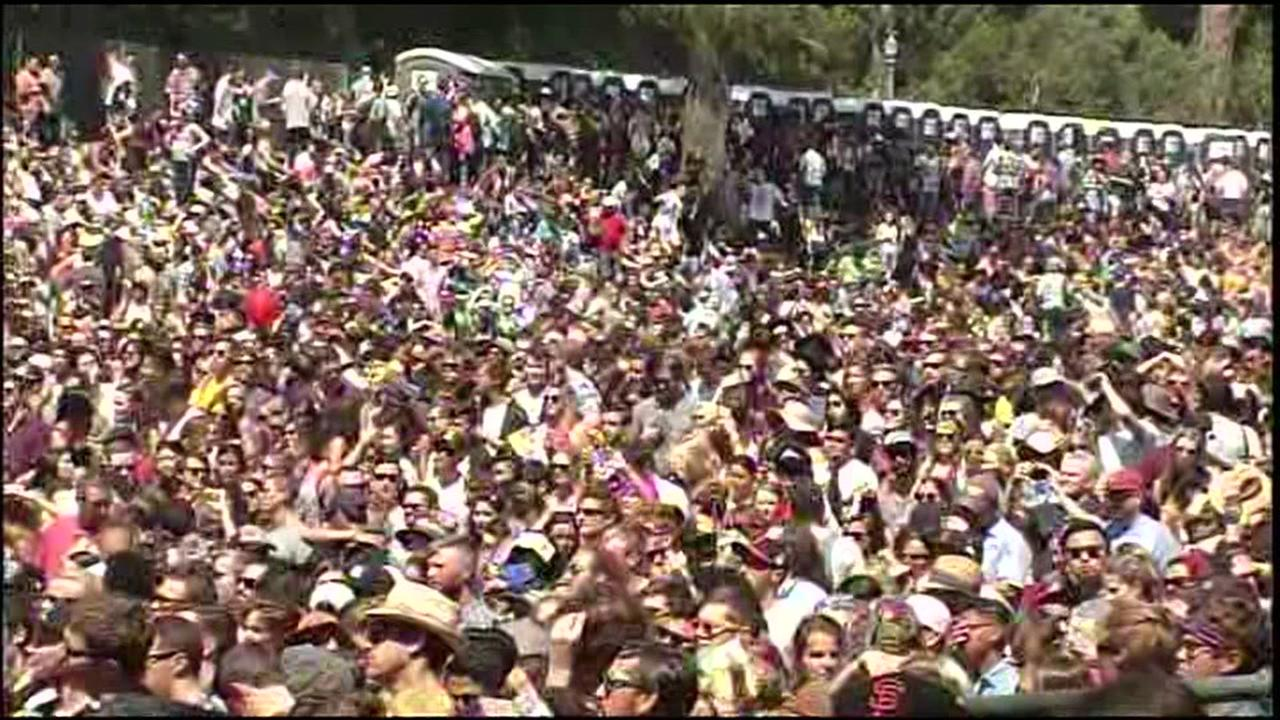 This is an undated image of a crowd at the Outside Lands Music Festival in San Francisco.