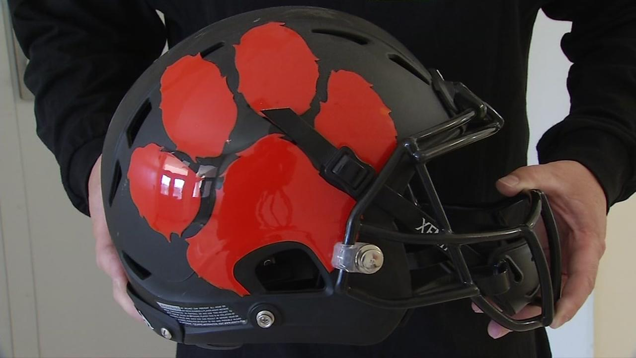 A Washington High School football helmet appears on Friday, Aug. 11, 2017.