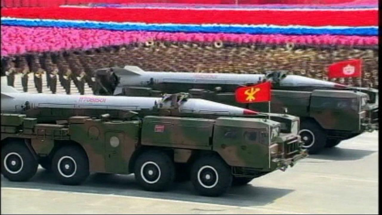 This is an undated image of a military display in North Korea.