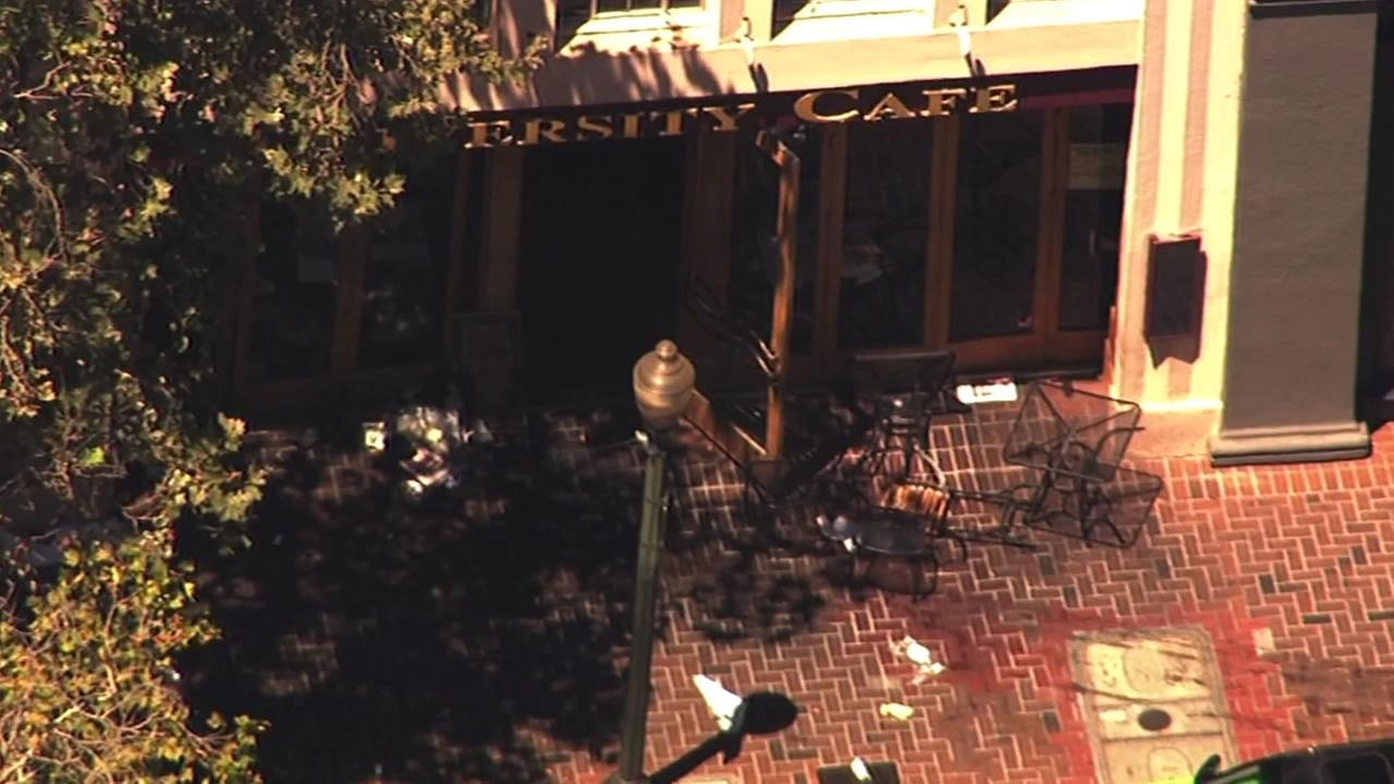 Car crashes through University Cafe in Palo Alto.