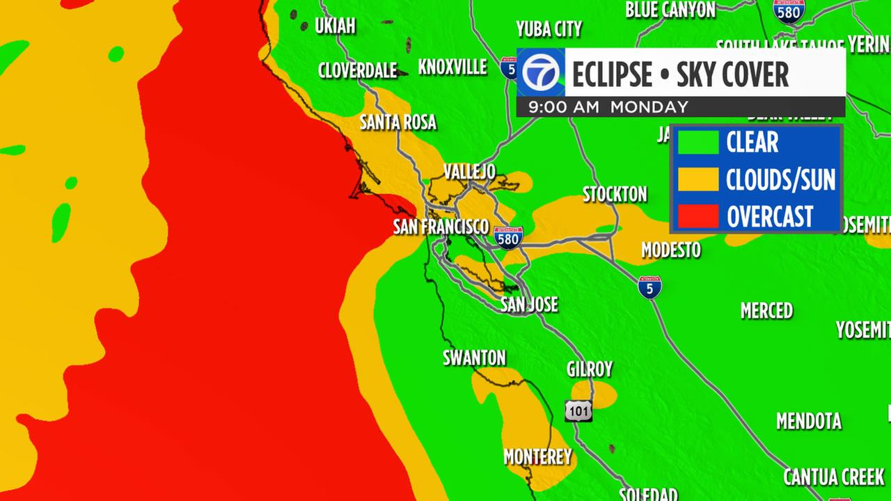 Heres a look at what the weather will be like for the total solar eclipse in the Bay Area on Monday, Aug. 21, 2017.